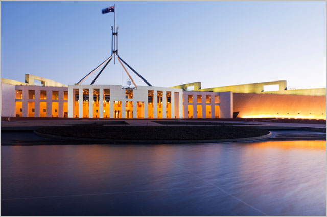 Canberra Australia Parliament House Twilight