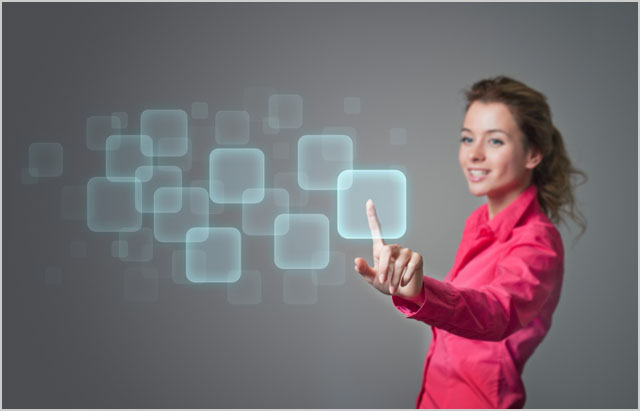 woman pressing buttons on a virtual screen